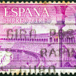 "SPAIN - CIRCA 1960: A stamp printed in Spain from the ""Bullfighting"" issue shows bullring (Plaza de Toros), circa 1960. — Stock Photo"