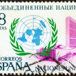 SPAIN - CIRCA 1970: A stamp printed in Spain issued for the 25th anniversary of United Nations shows U.N. Emblem and New York Headquarters, circa 1970. — Stock Photo
