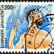 "GREECE - CIRCA 1986: A stamp printed in Greece from the ""Gods of Olympus"" issue shows god Poseidon, circa 1986. — Stock Photo #30131999"