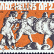 "Стоковое фото: GREECE - CIRC1972: stamp printed in Greece from ""Greek Mythology. Museum Pieces (1st series)"" issue shows Gods repulsing Giants, circ1972."
