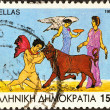 "GREECE - CIRC1995: stamp printed in Greece from ""Jason and Argonauts"" issue shows Jason taming bull, Medeand Nike, circ1995. — Stock Photo #30132205"