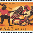 "Foto de Stock  : GREECE - CIRC1973: stamp printed in Greece from ""Greek Mythology (2nd series)"" issue shows Zeus in combat with Typhon (amphora), circ1973."