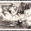 "GREECE - CIRCA 1973: A stamp printed in Greece from the ""Greek Mythology (2nd series)"" issue shows Mount Olympus, circa 1973. — Foto de Stock"