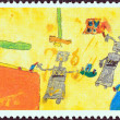 "GREECE - CIRCA 2000: A stamp printed in Greece from the ""The Future in the Eyes of the Children"" issue shows Robots (Moshovaki-Chaiger Ornella), circa 2000. — Stock Photo"