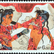 "Stock Photo: GREECE - CIRC1973: stamp printed in Greece from ""Archaeological Discoveries, Island of Ther(Santorini)"" issue shows boxing boys (fresco), circ1973."