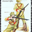 "Stock Photo: AUSTRALI- CIRC1985: stamp printed in Australifrom ""19th-Century AustraliMilitary Uniforms"" issue shows VictoriMounted Rifles, circ1985."