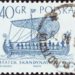 """POLAND - CIRCA 1964: A stamp printed in Poland from the """"Sailing Ships (2nd series)"""" issue shows Mora (Norman ship, 1066), circa 1964. — Stock Photo"""