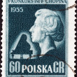 "POLAND - CIRCA 1955: A stamp printed in Poland from the ""5th International Chopin Piano Competition"" 2nd issue shows Bust of Chopin (after L. Isler), circa 1955. — Stock Photo #30132521"