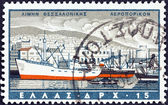 "GREECE - CIRCA 1958: A stamp printed in Greece from the ""Greek Ports"" issue shows Thessaloniki, circa 1958. — Stock Photo"