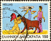 "GREECE - CIRCA 1995: A stamp printed in Greece from the ""Jason and the Argonauts"" issue shows Jason taming the bull, Medea and Nike, circa 1995. — Stock Photo"