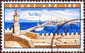 "GREECE - CIRCA 1958: A stamp printed in Greece from the ""Greek Ports"" issue shows Heraklion, circa 1958. — Stock Photo"