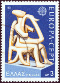 "GREECE - CIRCA 1974: A stamp printed in Greece from the ""Europa. Ancient Greek Sculptures"" issue shows Harpist of Keros, circa 1974. — Stock Photo"