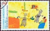 ギリシャ - 2000 年頃:「子どもの目で未来」問題からギリシャの印刷スタンプに示しますロボット (moshovaki chaiger オルネラ)、2000 年頃. — ストック写真