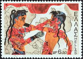 "GREECE - CIRCA 1973: A stamp printed in Greece from the ""Archaeological Discoveries, Island of Thera (Santorini)"" issue shows boxing boys (fresco), circa 1973. — Stock Photo"
