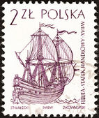 "POLAND - CIRCA 1964: A stamp printed in Poland from the ""Sailing Ships (2nd series)"" issue shows Dutch flute (17th century), circa 1964. — Stock Photo"