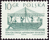 "POLAND - CIRCA 1963: A stamp printed in Poland from the ""Sailing Ships (1st series)"" issue shows Phoenician merchantman (15th century B.C.), circa 1963. — Stock Photo"