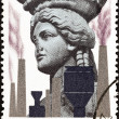 "GREECE - CIRCA 1977: A stamp printed in Greece from the ""Environmental Protection"" issue shows Caryatid and Factories, circa 1977. — Stock Photo"