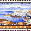 "GREECE - CIRCA 1958: A stamp printed in Greece from the ""Greek Ports"" issue shows Kavala, circa 1958. — Stock Photo"