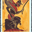 "GREECE - CIRCA 1974: A stamp printed in Greece from the ""Greek Mythology (3rd series)"" issue shows god Hermes, the messenger (vase), circa 1974. — Foto de Stock"