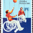 图库照片: AUSTRALI- CIRC1981: stamp printed in Australiissued for International Year of Disabled shows Wheelchair basketball game, circ1981.