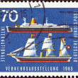"Stock Photo: GERMANY - CIRC1965: stamp printed in Germany from ""International Transport Exhibition, Munich"" issue shows Bremen (liner) and Hammoni(19th-century steamship), circ1965."