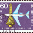 "GERMANY - CIRCA 1965: A stamp printed in Germany from the ""International Transport Exhibition, Munich"" issue shows Boeing 727-100 Airliner and Space Capsule, circa 1965. — Stock Photo"