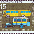 GERMANY - CIRCA 1965: A stamp printed in Germany from the International Transport Exhibition, Munich issue shows Old and modern postal buses, circa 1965.  — Stock Photo