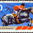 GERMANY - CIRCA 1978: A stamp printed in Germany from the Sport Promotion Fund issue shows show jumping, circa 1978.  — Stock Photo
