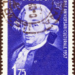 "ROMANIA - CIRCA 1957: A stamp printed in Romania from the ""Cultural Anniversaries"" issue shows Carlo Goldoni (dramatist, 250th birth anniversary), circa 1957. — Stock Photo #31273705"