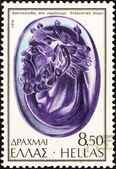 "GREECE - CIRCA 1976: A stamp printed in Greece from the ""Ancient Sealing-stones"" issue shows Head of Silenus, sardonyx, Hellenistic period, circa 1976. — Stock Photo"