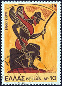 "GREECE - CIRCA 1974: A stamp printed in Greece from the ""Greek Mythology (3rd series)"" issue shows god Hermes, the messenger (vase), circa 1974. — Stock Photo"