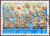 "GREECE - CIRCA 1971: A stamp printed in Greece from the ""150th Anniversary of War of Independence (2nd issue). The War at Sea"" issue shows the Battle of Samos (contemporary painting), circa 1971. — Stock Photo"