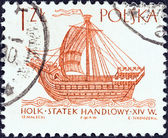 "POLAND - CIRCA 1964: A stamp printed in Poland from the ""Sailing Ships (2nd series)"" issue shows Hulk (16th century), circa 1964. — Stock Photo"