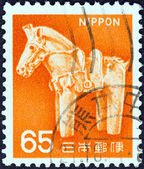 JAPAN - CIRCA 1966: A stamp printed in Japan shows ancient clay horse, circa 1966. — Foto de Stock