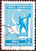 TURKEY - CIRCA 1941: A stamp printed in Turkey shows soldier and Map of Turkey, circa 1941. — Stock Photo