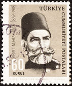 """TURKEY - CIRCA 1964: A stamp printed in Turkey from the """"Cultural Celebrities"""" issue shows Ahmet Muhtar Pasha (commander, 125th birth anniversary), circa 1964. — Stock Photo"""