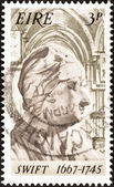 IRELAND - CIRCA 1967: A stamp printed in Ireland issued for the 300th birth anniversary of Jonathan Swift shows Jonathan Swift (1667-1745), circa 1967. — Stock Photo