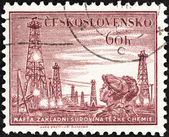 "CZECHOSLOVAKIA - CIRCA 1953: A stamp printed in Czechoslovakia from the ""Miner's Day"" issue shows Miners and colliery shaft head, circa 1953. — Stock Photo"