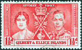"GILBERT AND ELLICE ISLANDS - CIRCA 1937: A stamp printed in United Kingdom from the ""Coronation"" issue shows King George VI and Queen Elizabeth, circa 1937. — Stock Photo"