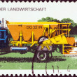 "Stock Photo: GERMAN DEMOCRATIC REPUBLIC - CIRC1977: stamp printed in Germany from ""Modern Agricultural Techniques"" issue shows Fertilizer spreader on truck, circ1977."