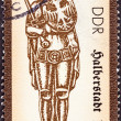 "Stock Photo: GERMAN DEMOCRATIC REPUBLIC - CIRC1989: stamp printed in Germany from ""Statues of Roland (2nd series)"" issue shows Halberstadt, circ1989."