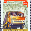 USSR - CIRCA 1974: A stamp printed in USSR issued for the 57th anniversary of October Revolution shows Kamaz truck, circa 1974.  — Stok fotoğraf