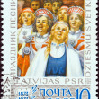 Stock Photo: USSR - CIRC1973: stamp printed in USSR issued for Centenary of LatviSinging Festival shows Girls' Choir, circ1973.