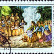"Stock Photo: POLAND - CIRC1977: stamp printed in Poland from ""Folk Customs. 19th century Wood Engravings"" issue shows Midsummer's Day Bonfire, circ1977."