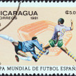 "NICARAGUA - CIRCA 1981: A stamp printed in Nicaragua from the ""World Cup Football Championship, Spain. Venues"" issue shows Balaidos, Vigo, circa 1981. — Stock Photo"