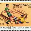 "NICARAGUA - CIRCA 1981: A stamp printed in Nicaragua from the ""World Cup Football Championship, Spain. Venues"" issue shows San Mames, Bilbao, circa 1981. — Stock Photo"