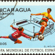 "NICARAGUA - CIRCA 1981: A stamp printed in Nicaragua from the ""World Cup Football Championship, Spain. Venues"" issue shows El Molinon Stadium, Gijon, circa 1981. — Stock Photo"