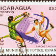 "NICARAGUA - CIRCA 1981: A stamp printed in Nicaragua from the ""World Cup Football Championship, Spain. Venues"" issue shows Sanchez Pizjuan, Seville , circa 1981. — Stock Photo"