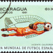 "NICARAGUA - CIRCA 1981: A stamp printed in Nicaragua from the ""World Cup Football Championship, Spain. Venues"" issue shows Vicente Calderon, Madrid, circa 1981. — Stock Photo"