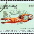 "NICARAGUA - CIRCA 1981: A stamp printed in Nicaragua from the ""World Cup Football Championship, Spain. Venues"" issue shows Vicente Calderon, Madrid, circa 1981. — Stock Photo #31702333"